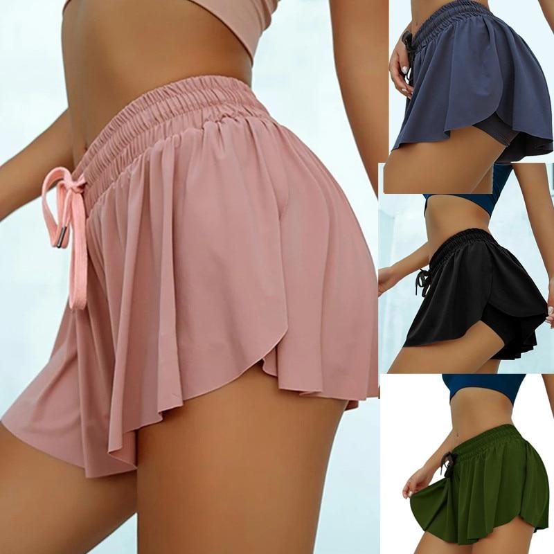 2020 offre spéciale été Anti lumière faux deux pièces femmes Shorts sport décontracté plage taille moyenne solide Shorts mode à lacets à volants