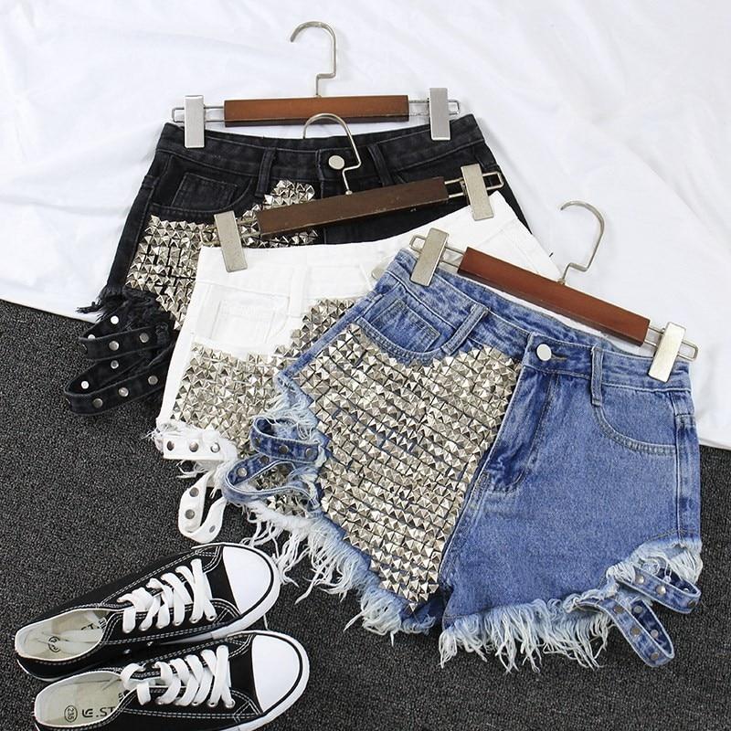 Short en jean déchiré taille haute pour femmes, marque de mode, Vintage, pompon, Rivet, taille haute, Punk, Sexy, tendance, Denim, 2019