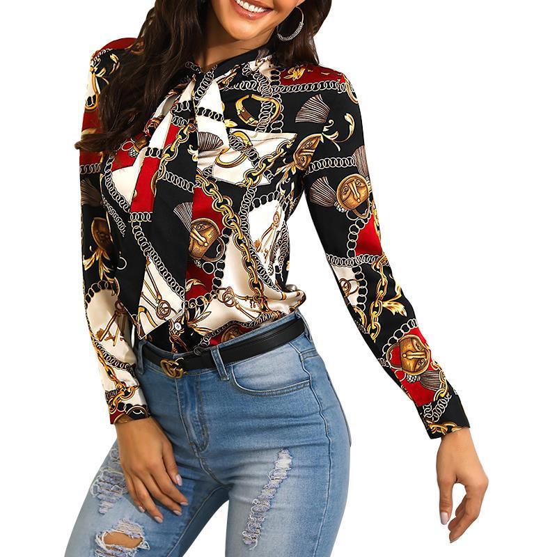 Haut de mode pour femmes, col serré, chemise décontractée à manches longues, tissu imprimé industriel, modèle d'exposition fashion 2019