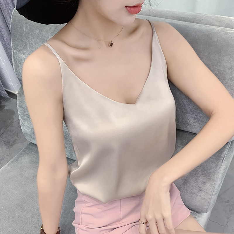 Haut en soie pour femmes, col en V, débardeur basique sans manches, camisole en Satin blanc, vêtements d'été