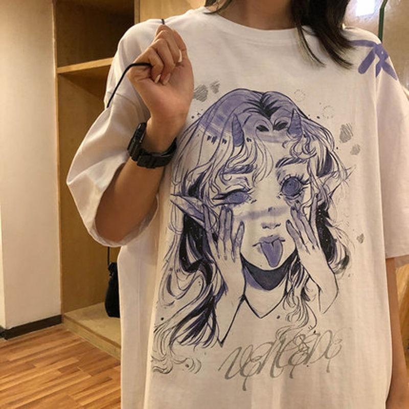 T-shirt à manches courtes pour femmes, Streetwear, blanc, imprimé de dessin animé drôle, hauts la mode, vêtements Hip Hop