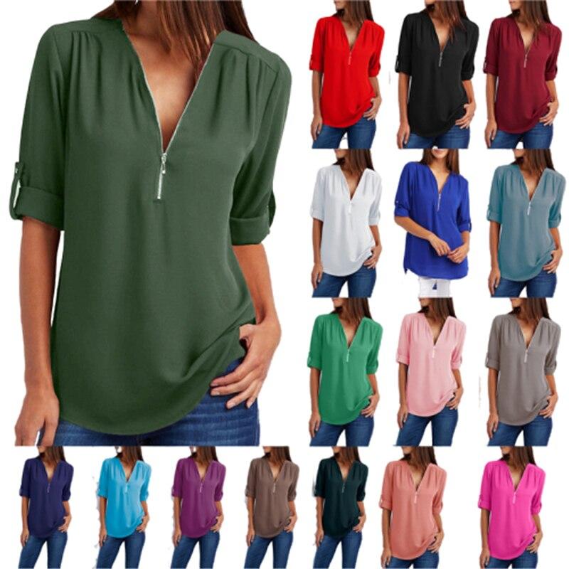 Grande Taille 4XL 5xl Femmes en mousseline de soie T-shirt Col En V À Glissière irrégulière Lâche Décontracté t-shirts Printemps été Grande Taille Sexy Hauts T-shirts