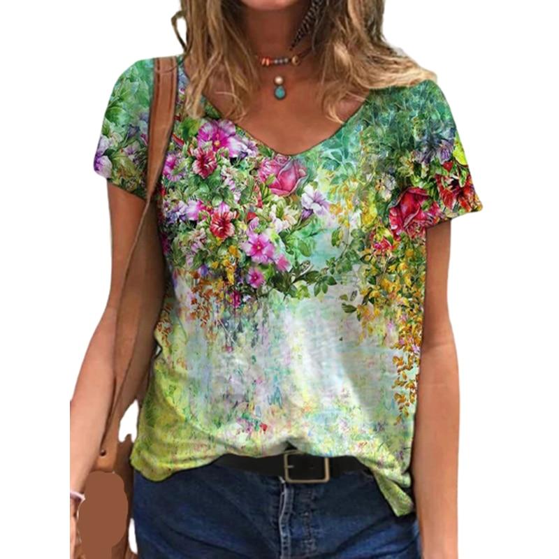 T-shirt manches courtes col en v femme, surdimensionné, imprimé Floral 3D, ample, Streetwear, été, 5XL