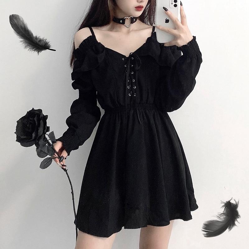 Robe Sexy taille haute pour femmes, vêtement gothique à épaules dénudées et manches longues, noir, 4XL, automne 2020