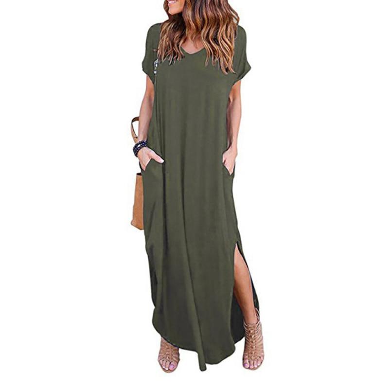 Grande Taille 5XL Femmes Sexy Robe D'été 2020 solide Décontracté Manches Courtes Maxi Robe Pour Les Femmes Longue Robe Livraison Gratuite Robes de Dame