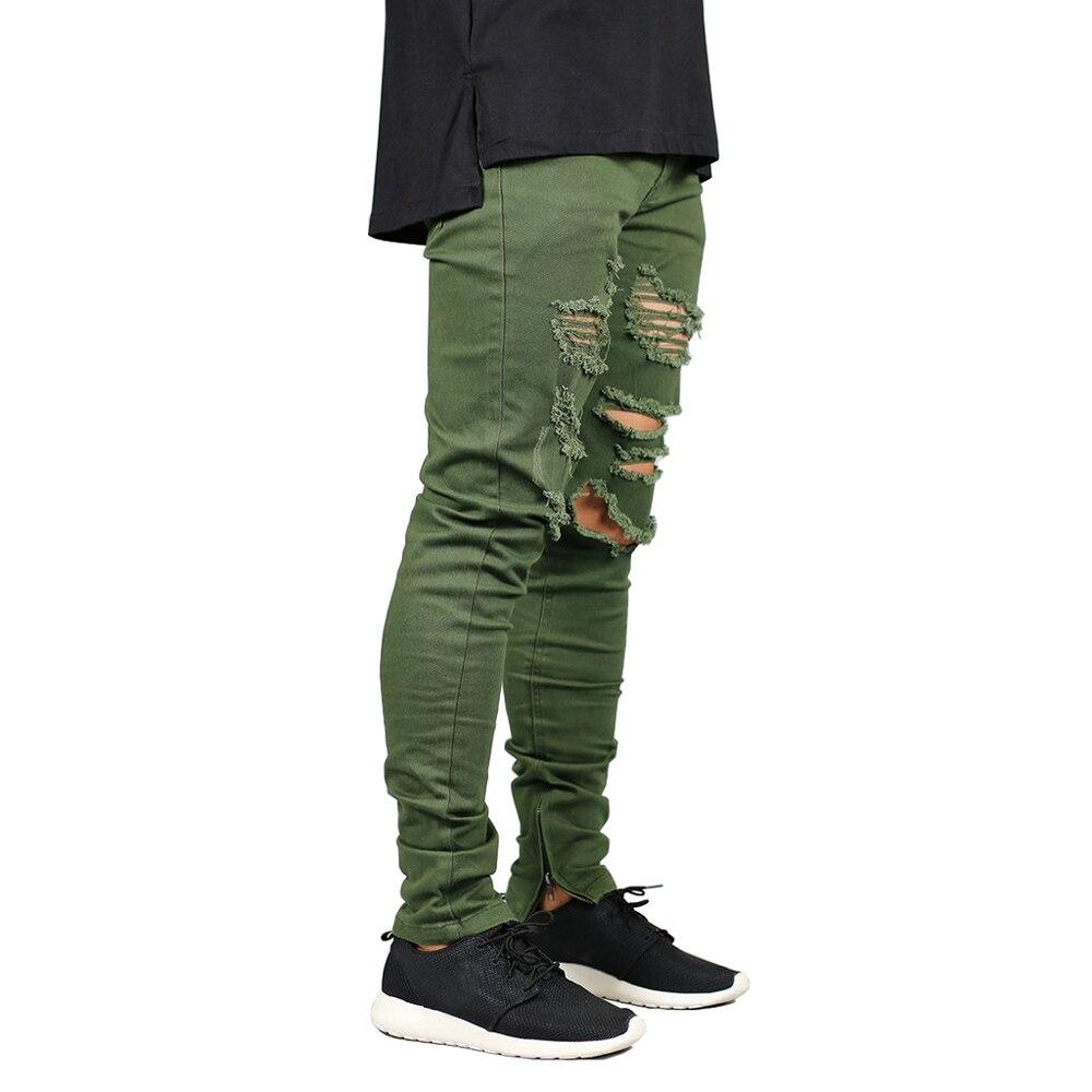 Jean Stretch pour hommes, fermeture éclair, déchiré, décontracté, mode armée, vert, pieds extensibles, slim