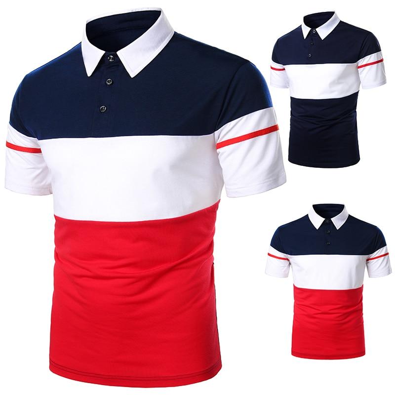 Polo à manches courtes pour hommes, nouveaux vêtements streetwear, décontractés et à la mode, vêtement de couleur contrastée, nouvelle tendance, pour la saison d'été
